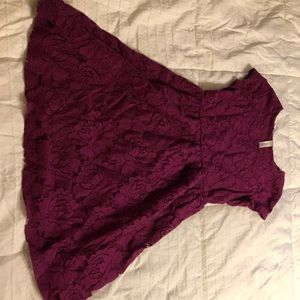 Maroon kids dress with lace detail